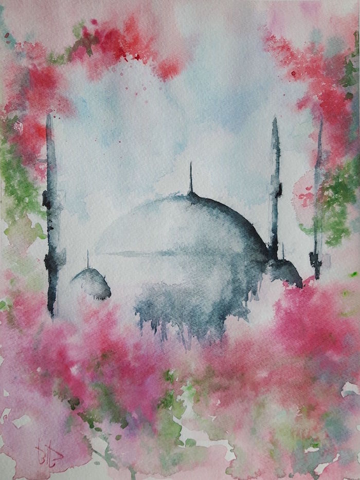 grey dome, surrounded by pink and green watercolor, easy watercolor paintings for beginners