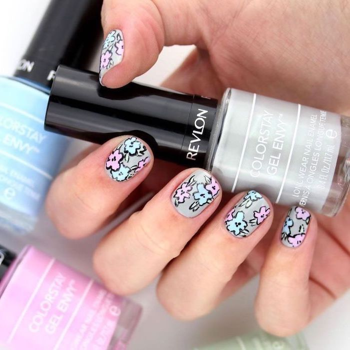 grey nail polish, blue and pink flowers decorations, short squoval nails, cute summer nails