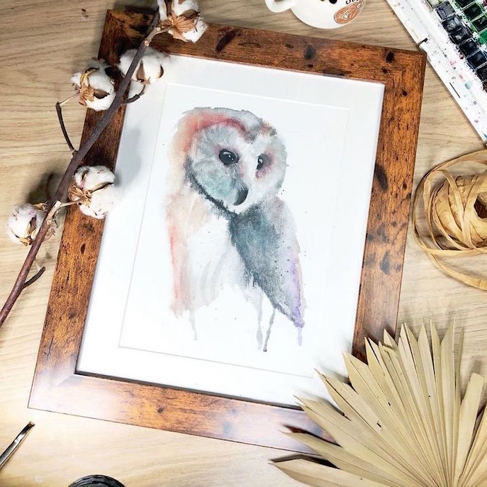 painting of an owl, painted in grey and orange, easy watercolor paintings for beginners, painted on white background