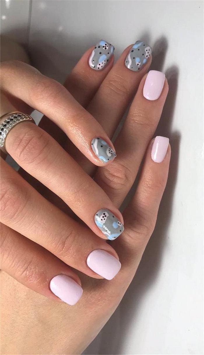pink and grey nail polish, abstract decorations, black blue and pink, cute summer nails, short square nails
