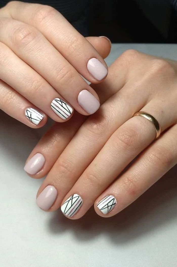 french tip nail designs, light grey nail polish, black and gold lines decorations, short squoval nails