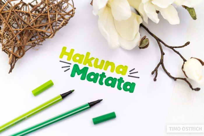 hakuna matata written in different shades of green hand lettering white background with white flowers