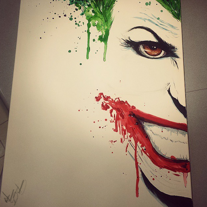 half of the joker's face, watercolor painting ideas, painted on white background, green hair and red lips