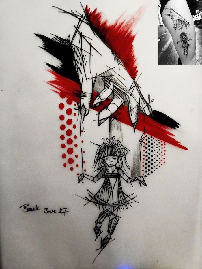 hand controlling a doll trash polka design pupeteer red and black lines dots around it