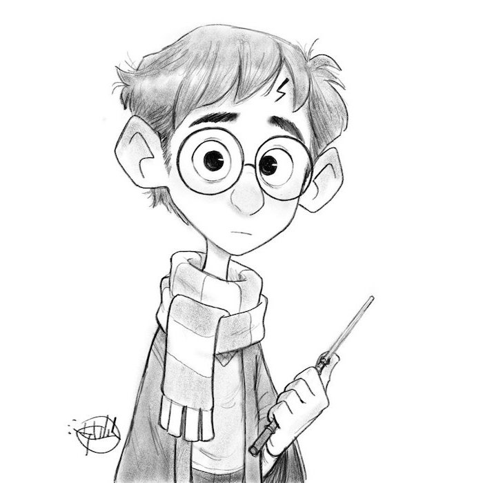 harry potter as a cartoon, holding a wand, cartoon harry potter characters, black and white pencil drawing