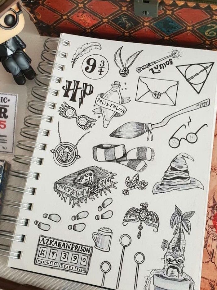 felix felicis potion in bottle, the golden snitch, cartoon harry potter characters, hogwarts letter, black and white pencil drawings