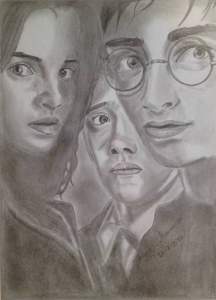 hermione granger, harry potter, ron weasley, drawing harry potter characters, black and white pencil drawing