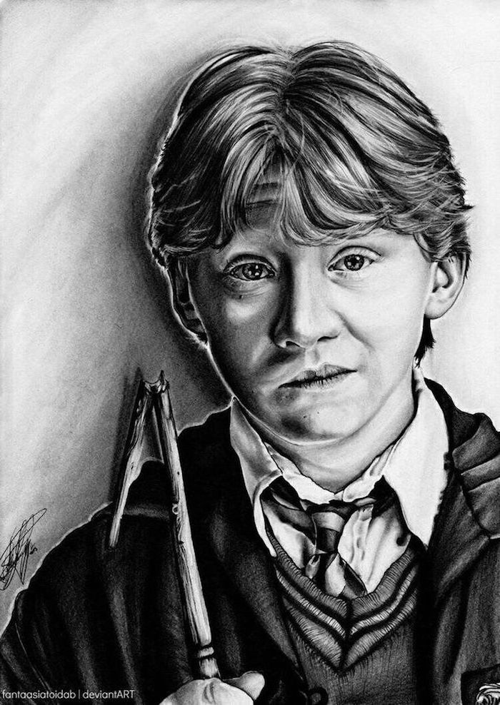 portrait drawing, ron weasley, holding his broken wand, drawing harry potter characters, black and white pencil drawing