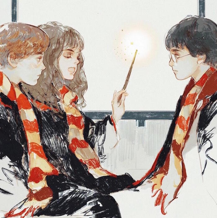 watercolor painting, hermione granger, holding a wand, drawing harry potter characters, ron weasley, harry potter