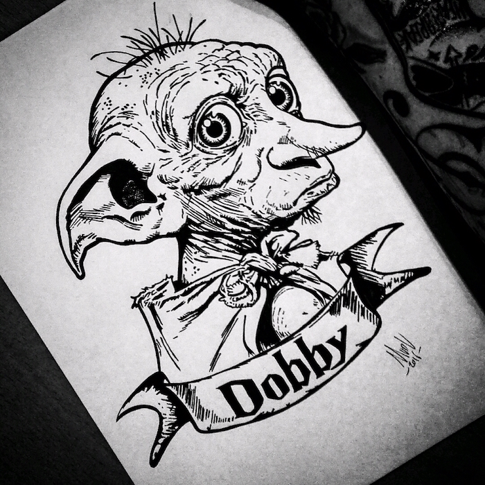 portrait drawing, harry potter drawing ideas, drawing of dobby, black and white pencil drawing