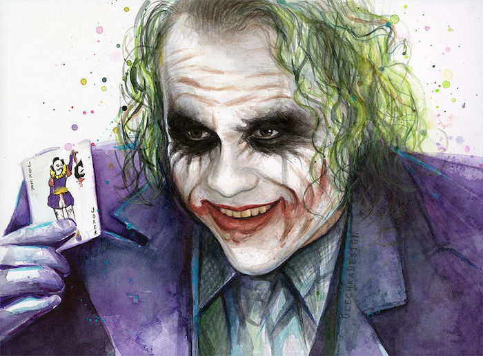 heath ledger as the joker, wearing purple suit, holding up a joker's playing card, watercolor painting ideas