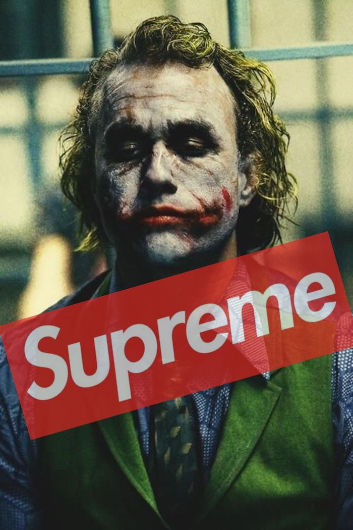 heath ledger as the joker photographed in jail cartoon supreme wallpaper supreme logo in red and white