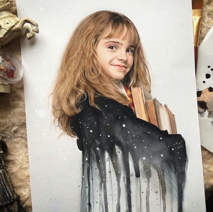 colored drawing, harry potter drawing ideas, watercolor drawing of her robe, hermione granger, realistic portrait drawing