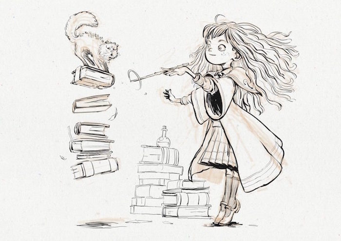 hermione granger, holding a wand, doing magic, harry potter drawing ideas, colored drawing, white background