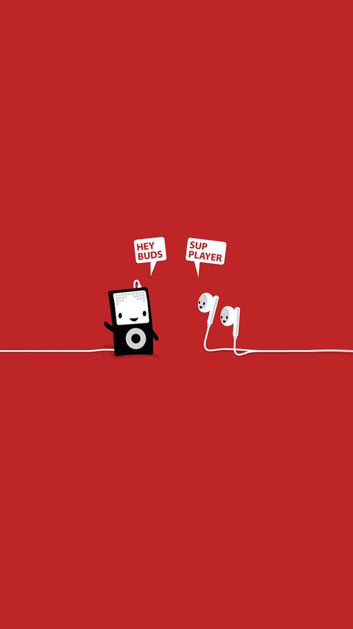hey buds sup player funny computer wallpaper drawing of ipod and earphones on red background