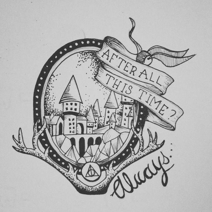 after all this time always, hogwarts castle, harry potter drawing ideas, black and white pencil drawing