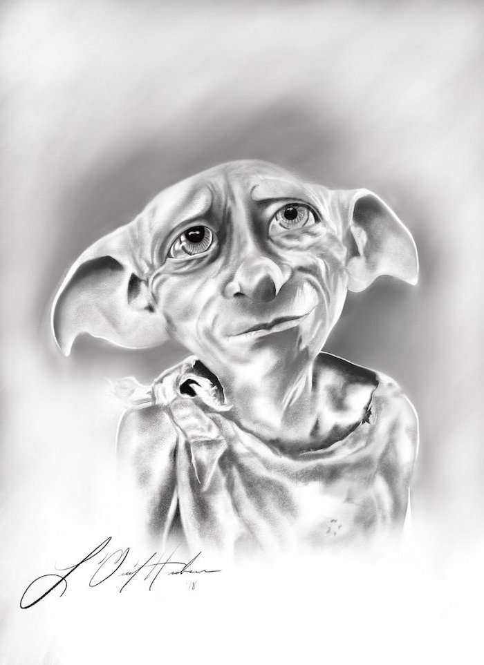 realistic portrait drawing, drawing of dobby, harry potter drawing ideas, black and white pencil drawing