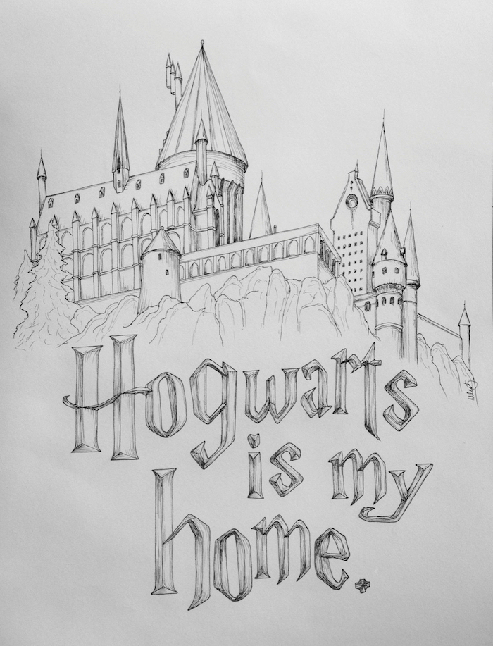 hogwarts is my home, drawing of hogwarts castle, harry potter things to draw, black and white pencil drawing