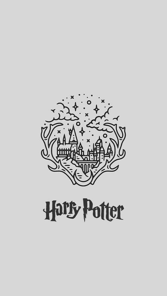 drawing of hogwarts castle, black and white pencil drawing, harry potter things to draw, white background