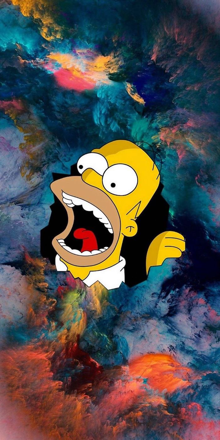 homer simpson coming out of a galacy sky photo funny phone wallpapers colorful clouds