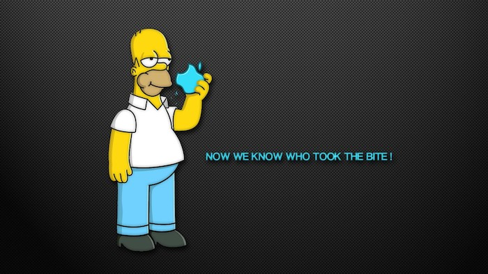 homer simpson taking a bite from an apple cool desktop backgrounds now we know who took the bite written in blue on black background