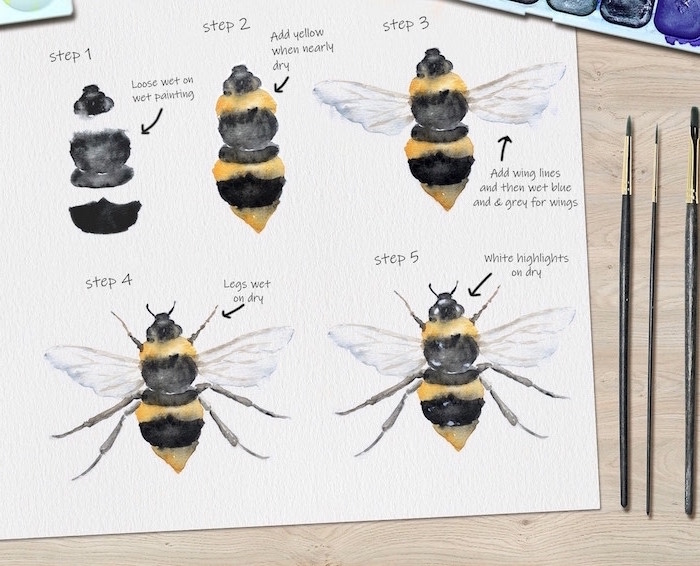 step by step diy tutoria, how to paint a bee, five step tutorial, easy watercolor paintings for beginners, white background