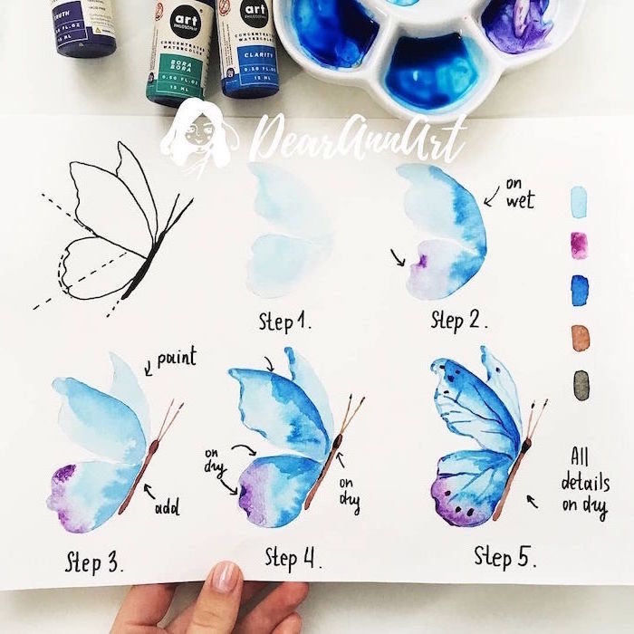 how to draw a butterfly, step by step diy tutorial, five step tutorial, easy watercolor paintings for beginners, white background