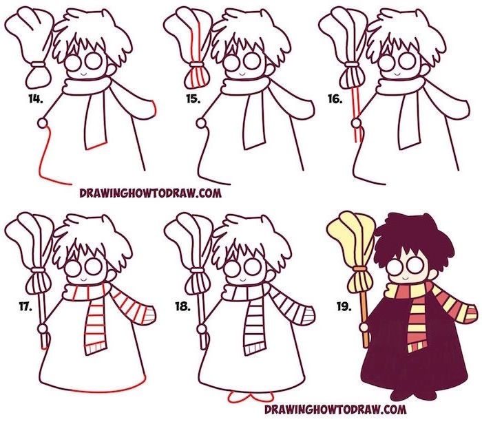 white background, harry potter things to draw, how to draw cute harry, step by step diy tutorial