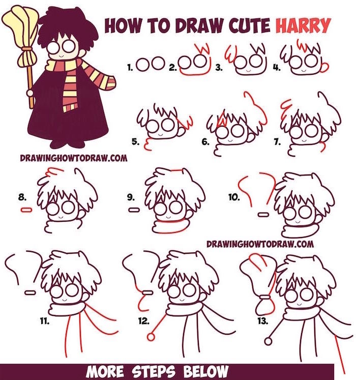 how to draw cute harry, step by step diy tutorial, harry potter things to draw, white background