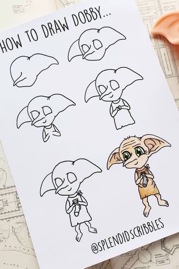 how to draw dobby, step by step diy tutorial, six step tutorial, how to draw hermione granger, white backgorund