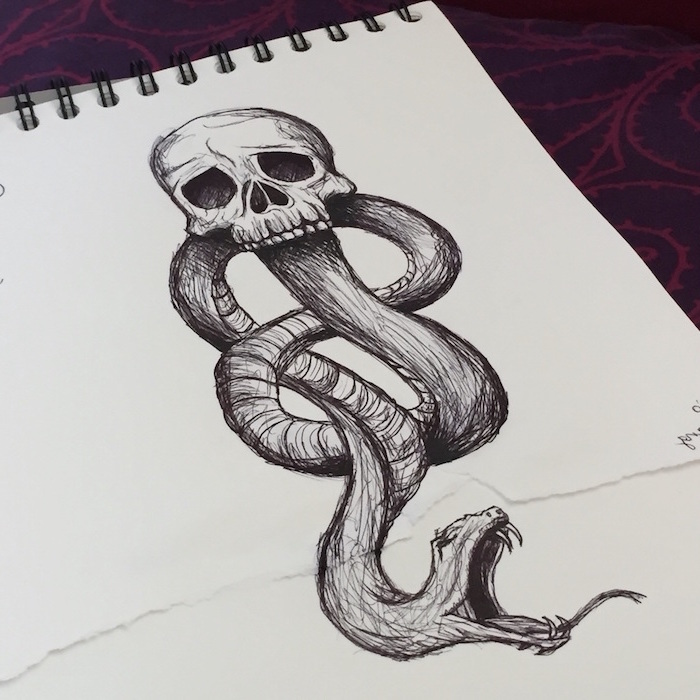 deatheaters symbol, how to draw hermione granger, long snake coming out of a skull, black and white pencil drawing