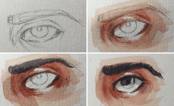how to draw eyes, step by step diy tutorial, easy watercolor ideas, how to draw eyes in watercolor