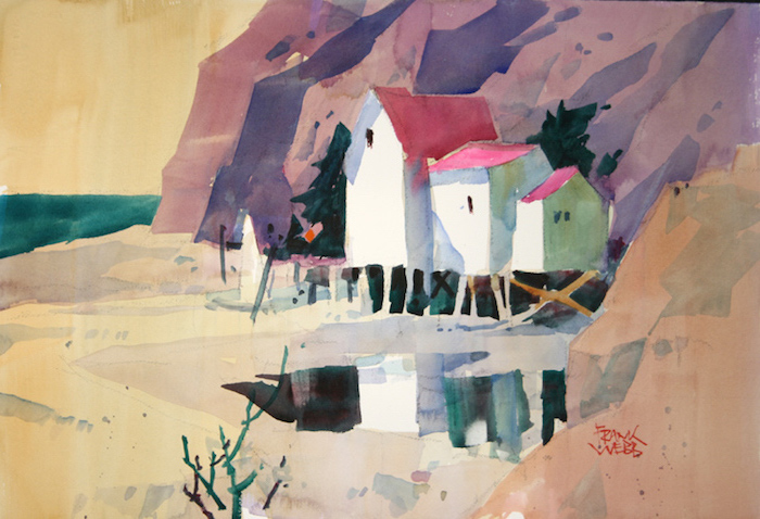 beach landscape, beach house, large rocks behind it, easy watercolor ideas, abstract art