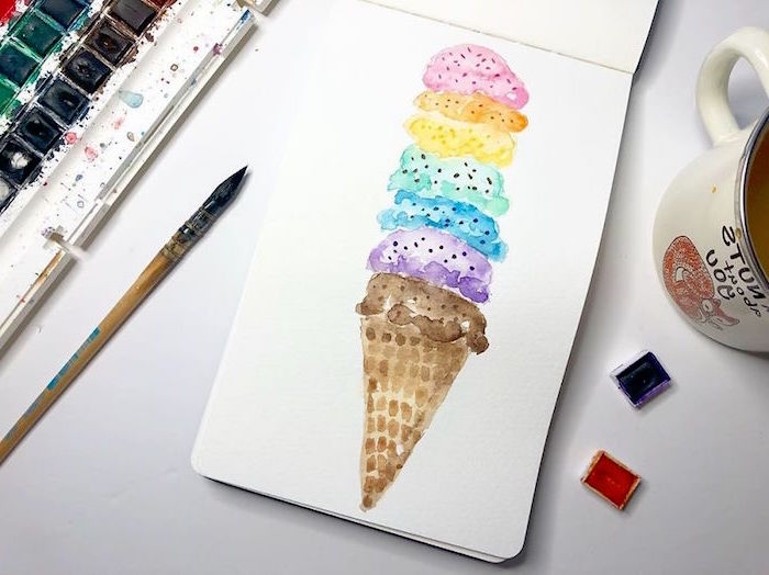 ice cream cone with lots of scoops, painted in different colors, how to use watercolor paint, painted on white background