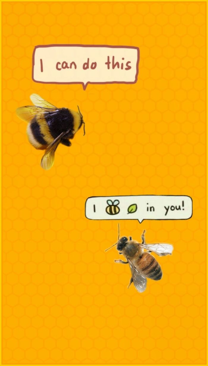 i can do this i believe in you written in speech bubbles funny computer wallpaper two bees on yellow background