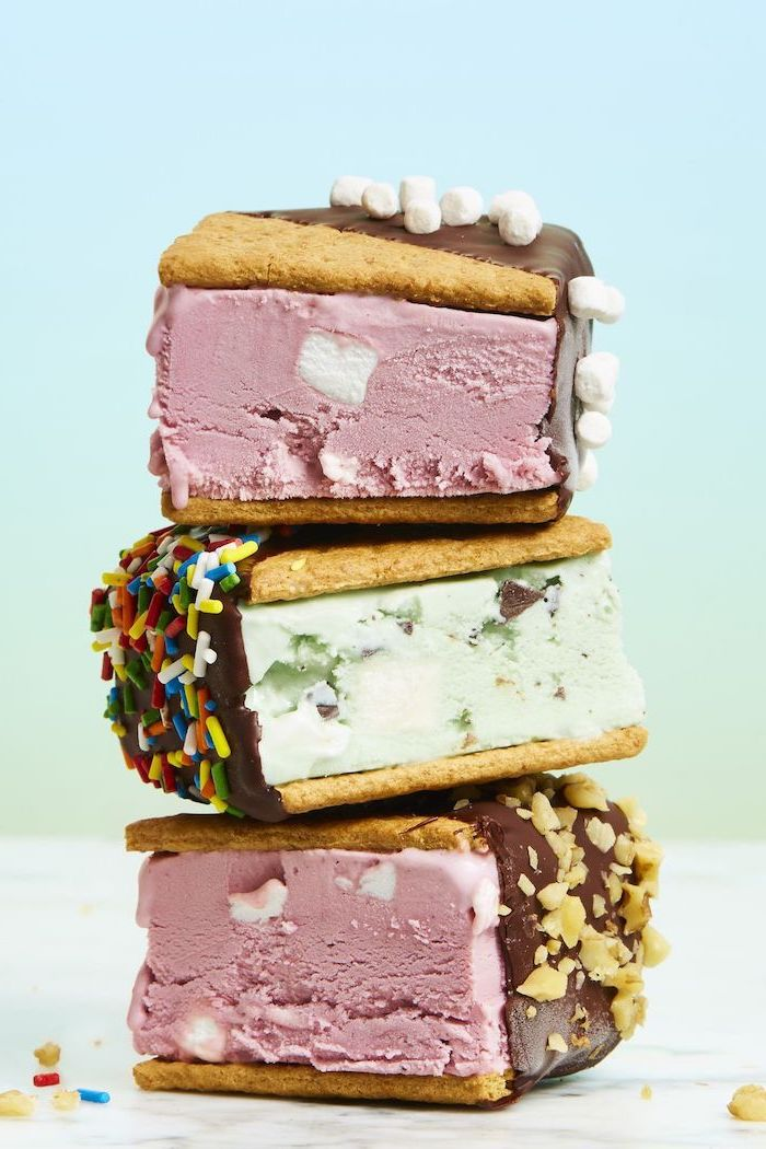 ice cream sandwiches with chocolate on top easy no bake desserts crushed nuts smores and sprinkles decoration