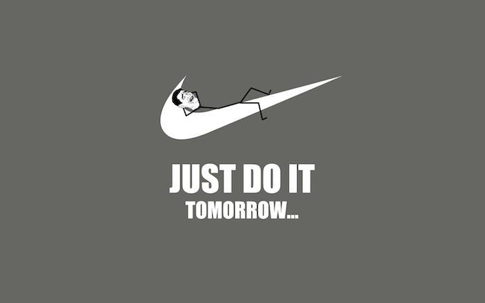 just do it tomorrow funny screensavers nike logo stick figure man lieing on it grey background
