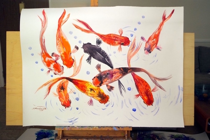 koi fish, painted in orange black and yellow, how to use watercolor paint, painted on white background