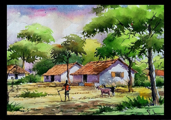 village landscape, shepherd with his goats, watercolor techniques, small houses, surrounded by tall trees