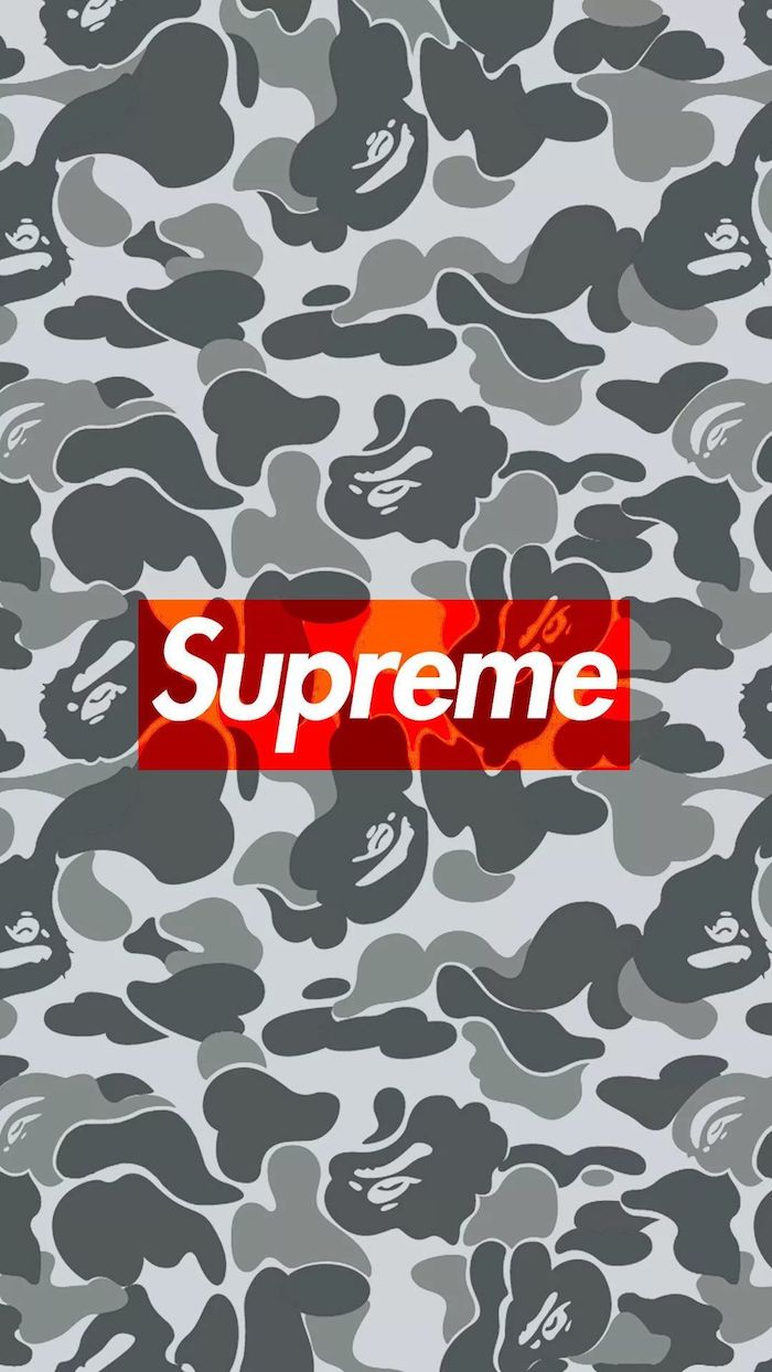 light and dark grey camouflage background supreme rose wallpaper supreme logo in red and white