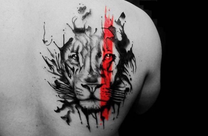 lion head with red line going through it back tattoo trash polka chest tattoo black and white photo