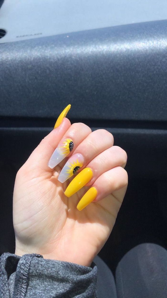 yellow nail polish, sunflower decorations, cute nail ideas, long coffin nails