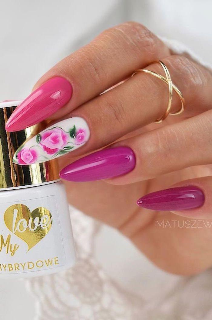 long coffin nails, pink nail polish, french tip nail designs, pink roses decorations
