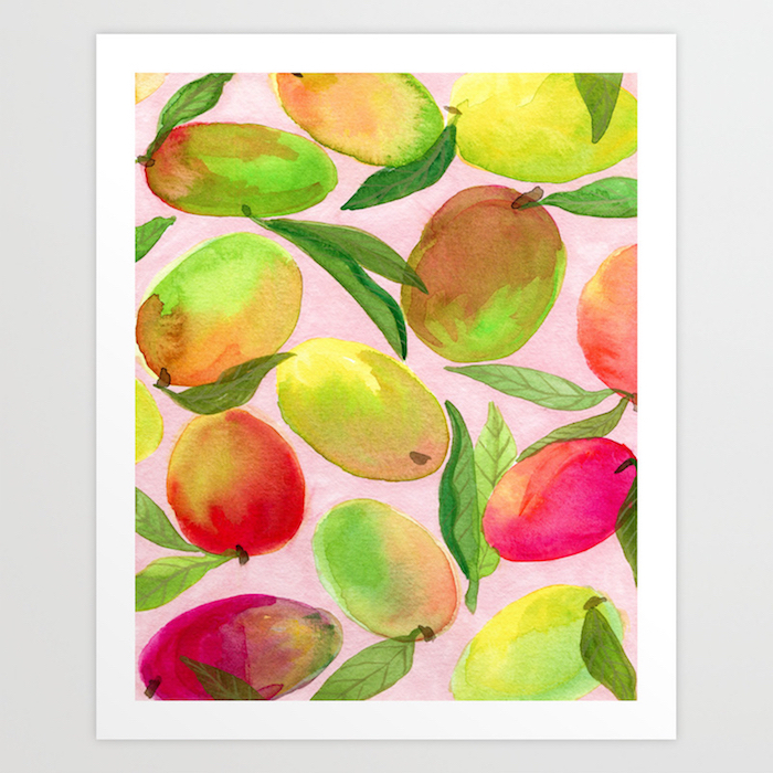 lots of mangos, painted in different colors, watercolor techniques, pink background, framed and hanging on white wall