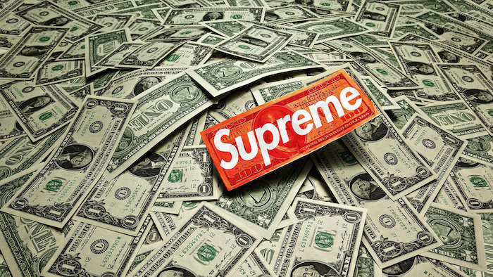lots of one dollar bills supreme louis vuitton wallpaper supreme logo in red and white on one of them