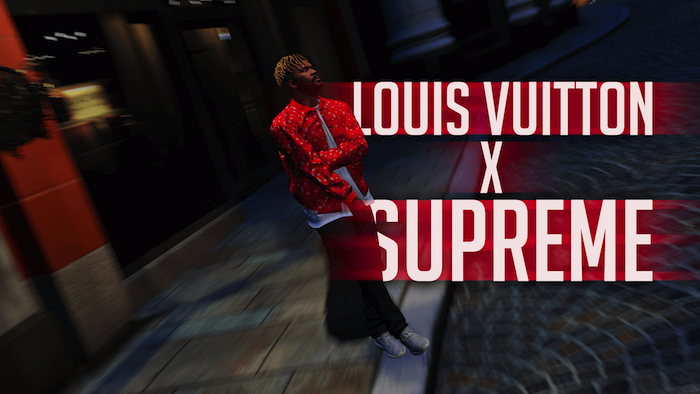 louis vuitton x supreme written in red and white supreme louis vuitton wallpaper man dressed standing on the sidewalk
