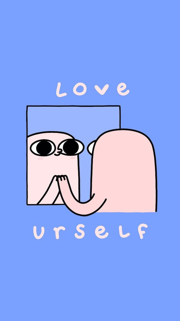 love urself funny wallpapers for phones cartoon character looking in the mirror blue background
