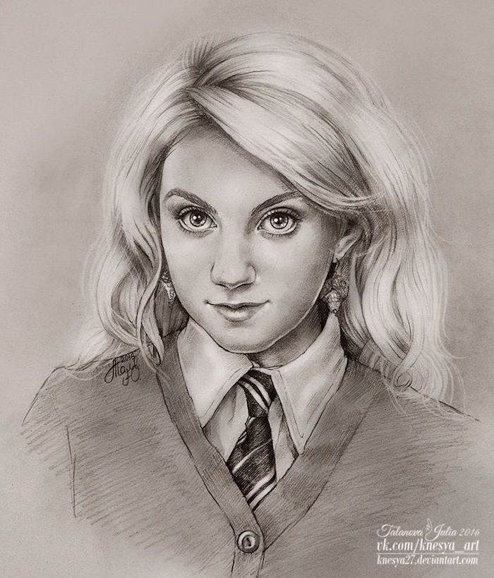 drawing of luna lovegood, how to draw hermione granger, realistic portrait drawing, black and white pencil drawing