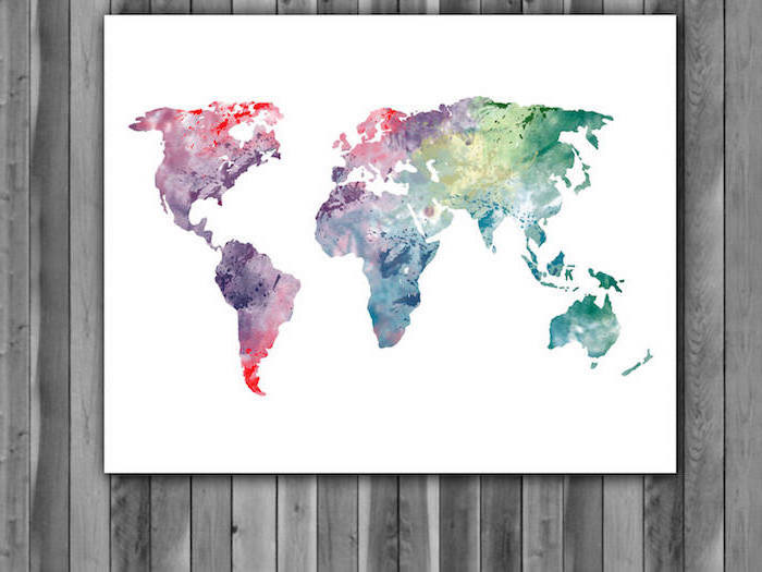 map of the world, painted in different colors, painted on white background, watercolor techniques, hanging on wooden wall