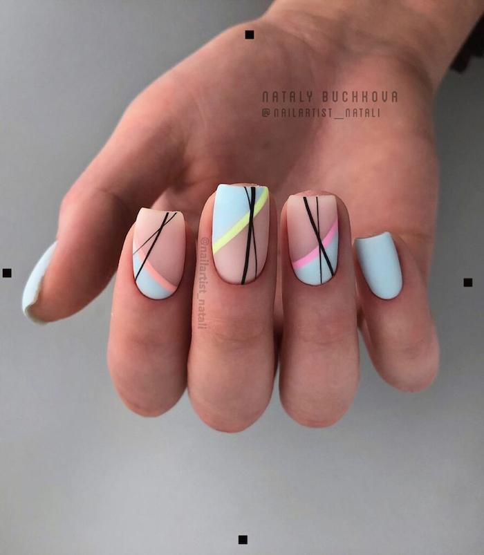 nude and blue matte nail polish, bright nail colors, abstract lines decorations, short square nails